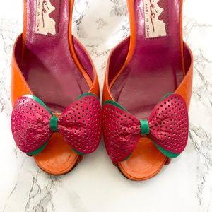 Vintage Glacée Heels w/Bows + Ankle Ties 6M